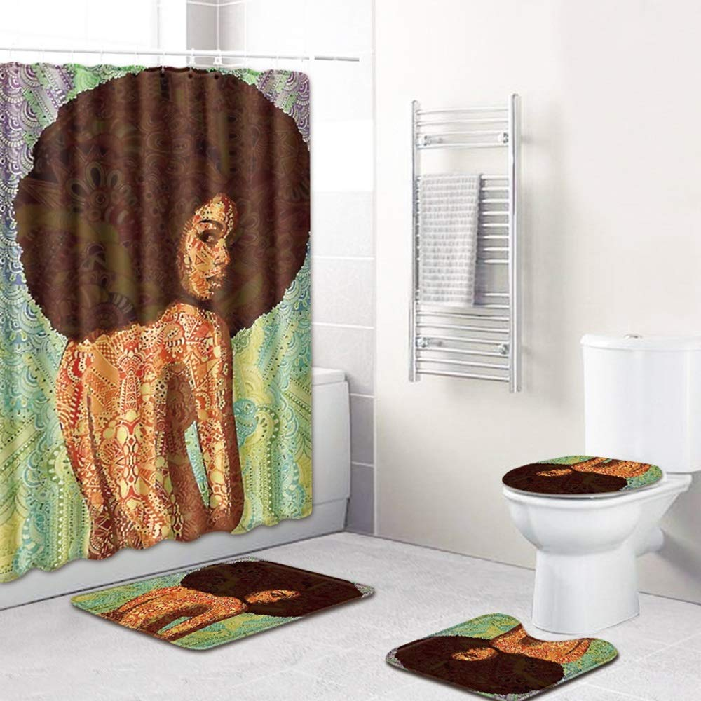 ETH Explosion Head Beauty Pattern Shower Curtain Floor Mat Bathroom Toilet Seat Four-Piece Carpet Water Absorption Does Not Fade Versatile Comfortable Bathroom Mat Can Be Machine Washed Durable by ETH