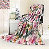 YOYI-HOME Twin Size Bed Duplex Printed Blanket s Super Soft Shabby Chic Country Design with Flowers Florals Roses Orchids Buds Romantic Print Multicolor Fleece Blanket for Bed or Couch/W47 x H31.5