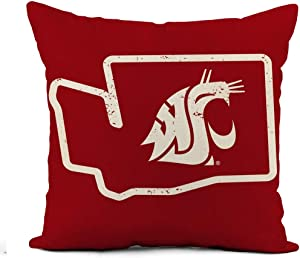 Awowee Linen Throw Pillow Cover WSU Cougars Vintage Washington State Retro 18x18 Inch Home Outdoor Decor Pillowcase Square Pillow Case Cushion Cover for Sofa Bed