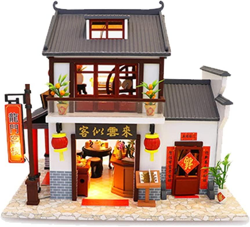 WYD Chinese Creative Doll House Inn Restaurant Mini Educational Puzzle Toy Gift with LED Light
