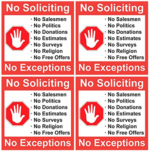 SecurePro Products No Soliciting 4 Pack of 5 X 5 Inch No Soliciting Decal Vinyl Self-Adhesive Door & Window Stickers