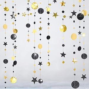Cheerland Black Gold Star Party Decorations Moon Star Garland Glitter Hanging Star Circle Streamer Banner Backdrop Background for Halloween Wedding Birthday Bachelorette Retirement Dancing Prom