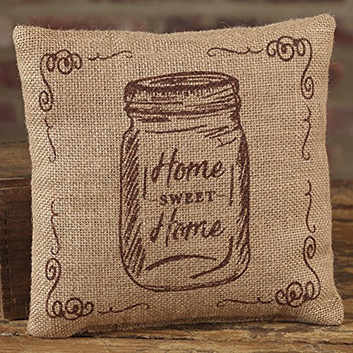 Mason Jar Home Sweet Home 8 x 8 Burlap Decorative Throw Pillow - Pillow Mason Collection