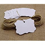 100 Pcs Gift Tags/ Hang Tags with Free Strings, Scalloped Tag Style Color Rectangular With Heart Punched