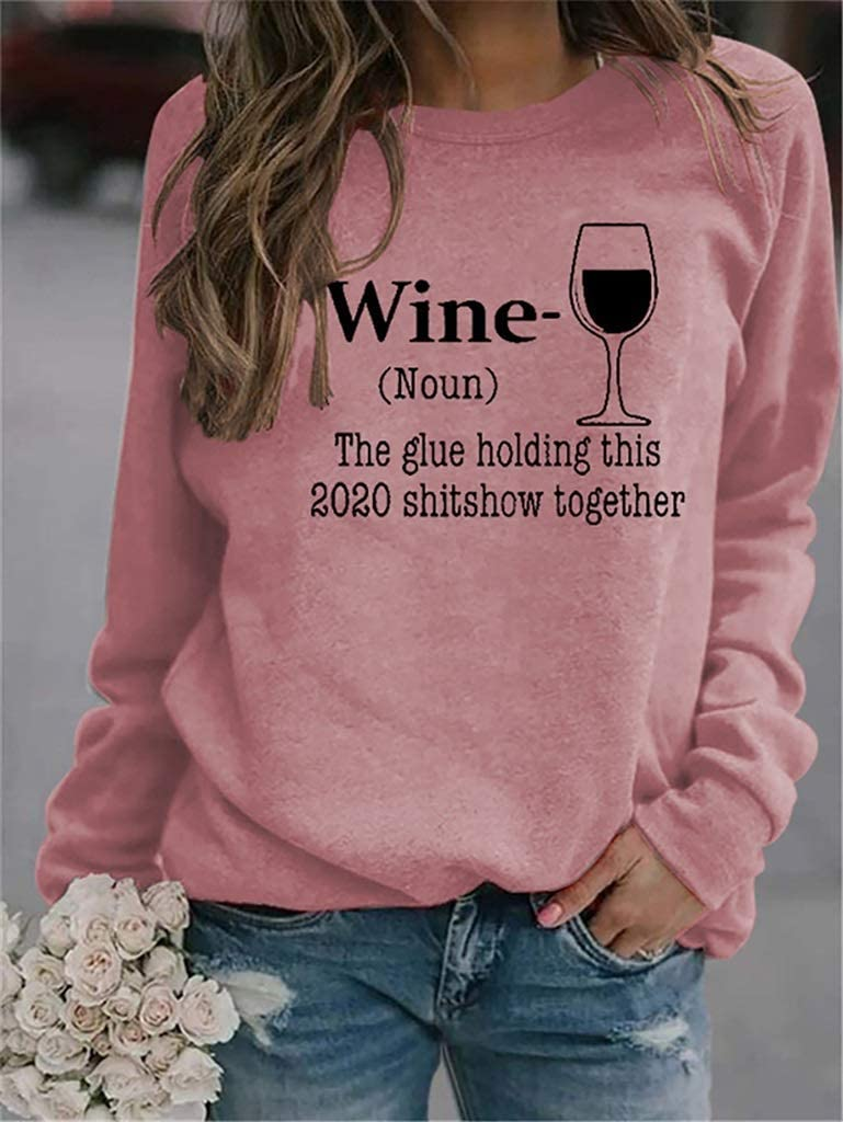 Color : Black, Size : S Liquor Wine The Glue Holding This 2020 Shitshow Together Hoodie ,Wine The Glue Long Women Sleeve Sweatshirt