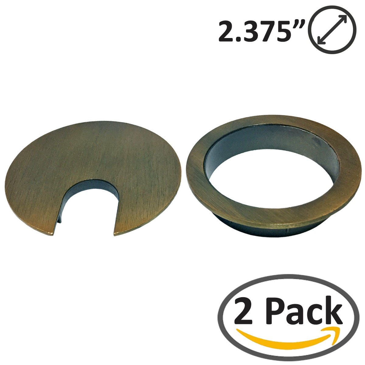 Two-Piece Design 2-3/8'' Metal Grommet (Brushed Bronze) | 2 Pack Set