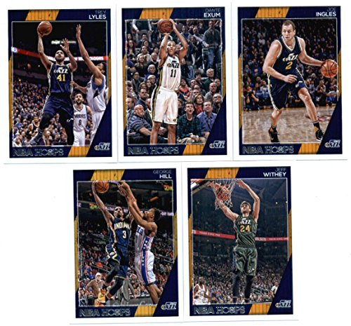 2016-17 Panini NBA Hoops Utah Jazz Team Set of 10 Cards: Gordon Hayward(#55), Rudy Gobert(#56), Rodney Hood(#57), Derrick Favors(#58), Alec Burks(#59), George Hill(#98), Jeff Withey(#105), Trey Lyles(#160), Dante Exum(#195), Joe Ingles(#196)