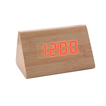 bouti1583 Wooden Triangular Digital LED Alarm Clock Bedside Date Thermometer Display Home Office Desk Decoration Sound