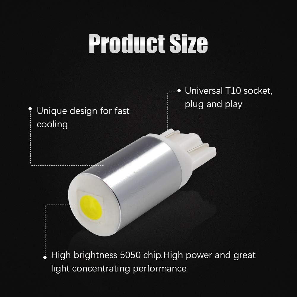 LncBoc T10 LED W5W 194 168 501 Ampoules de Voiture Lampe 1SMD 5050 LED Lampes pour Plaque Dimmatriculation Feu de Position Lat/éral Blanc x/énon 6000K 12V Paquet de 2