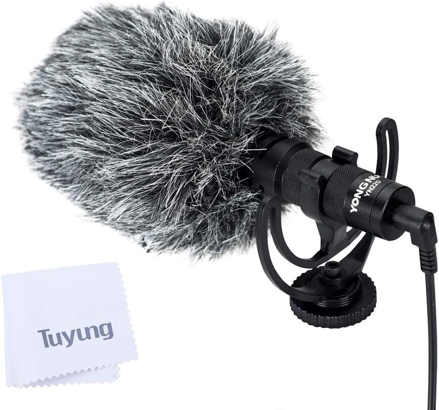 YONGNUO YN220 Cardioid Microphone with TRS Lines and TRRS Output Cable and Shock Mount for Smart Phones,Cameras,camcorders,recorders,Personal Computers and Other Audio//Video Recording Devices.