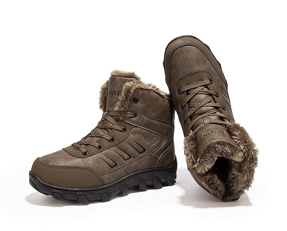 Meduman Mens Winter Warm Snow Boots Leather Fur Lined Outdoor Hiking Trekking Shoes Lace up Waterproof Non Slip Antiskid