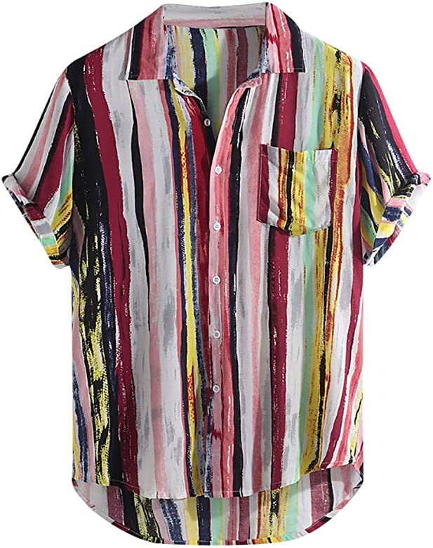 STORTO Mens Fashion Casual 3D Printing Elastic Short Sleeve T-Shirt Big Size Slim Tops