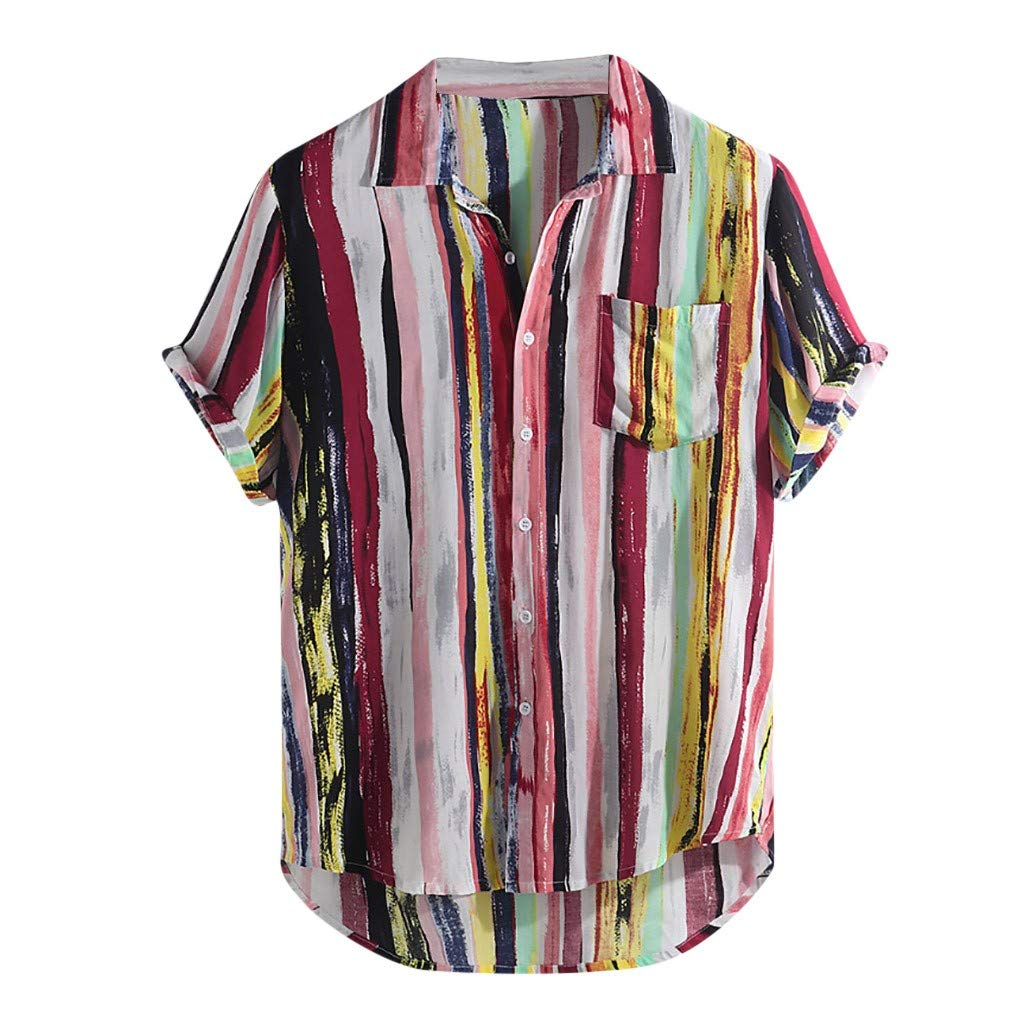 Leyorie Mens Linen Button Up Shirts Colorful Stripe Casual Short Sleeve Loose Fit Beach Shirts