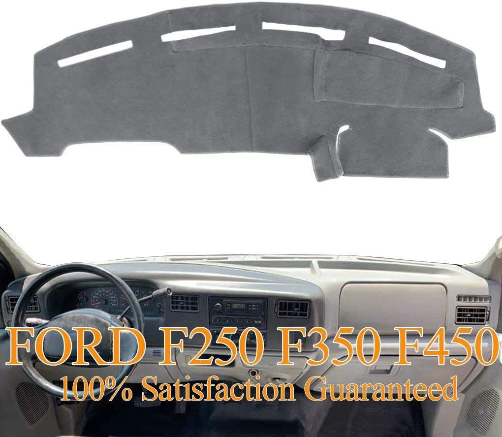 Dashboard Cover Dash Cover Mat Pad Carpet Custom Fit for Ford F250 F350 F450 Super Duty 1999 2000 2001 2002 2003 2004 (Gray) Y72