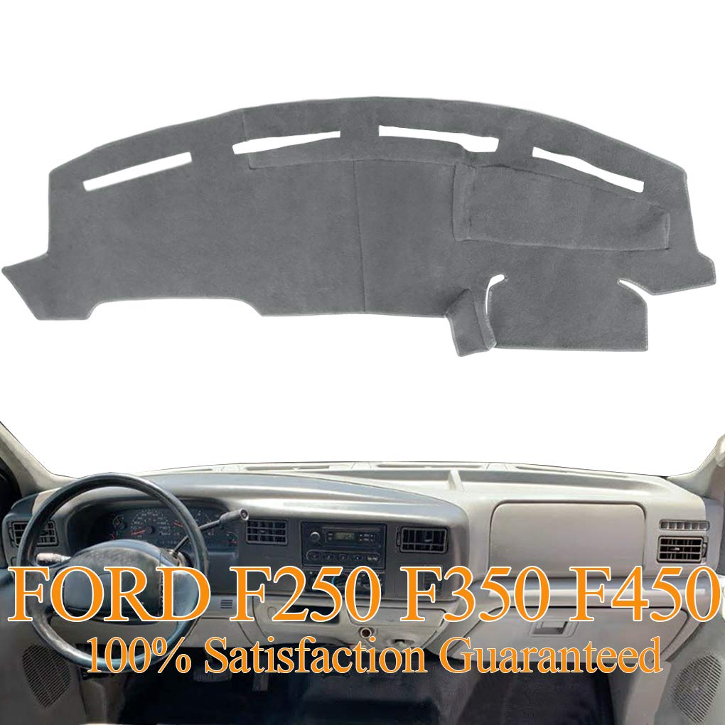 Y72 Gray Dashboard Cover Dash Cover Mat Pad Carpet Custom Fit for Ford F250 F350 F450 Super Duty 1999 2000 2001 2002 2003 2004
