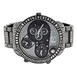 NY Londond Fully Iced Out Mens Watch Brand New Lab Diamonds Chronograph 3 Timezones Function Stainless Steel Back