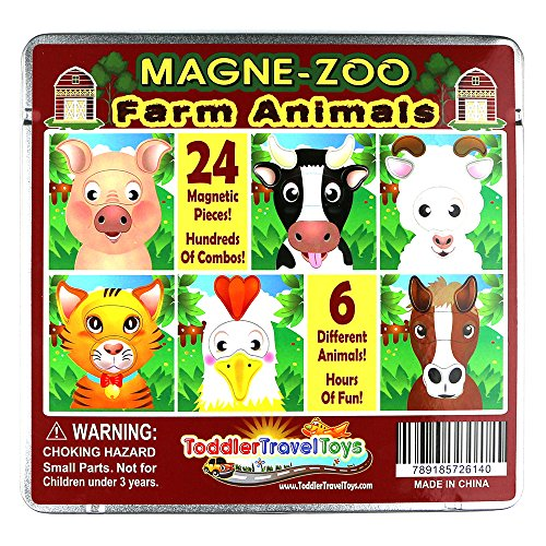 Funny Magnetic Farm Animal Faces - Magnet Wooden Puzzle Pieces in Tin Travel Case for Kids, Toddlers, Children - Cute Silly Animals - Pig Cow Sheep Chicken Mouse Horse - Great for Home, Plane or Car (Magnetic Farm)
