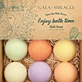 Gaea Miracle Bath Bombs Gift Set, 6 X 4.0 oz Spa Bomb Fizzies Vegan Natural Essential Oils Handmade Birthday Gift Idea for Her/Him, Wife, Girlfriend, Men, Women