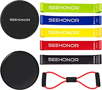 SEEHONOR Resistance 5 Stackable Exercise Bands with Handles