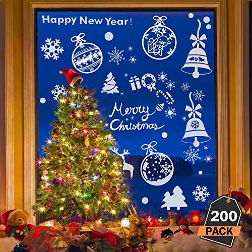 Scale Rank 200 Piece Assorted Christmas Window Decals Set, Winter Wonderland/White Christmas Theme Decoration - for A Festive and Magical Holiday ()