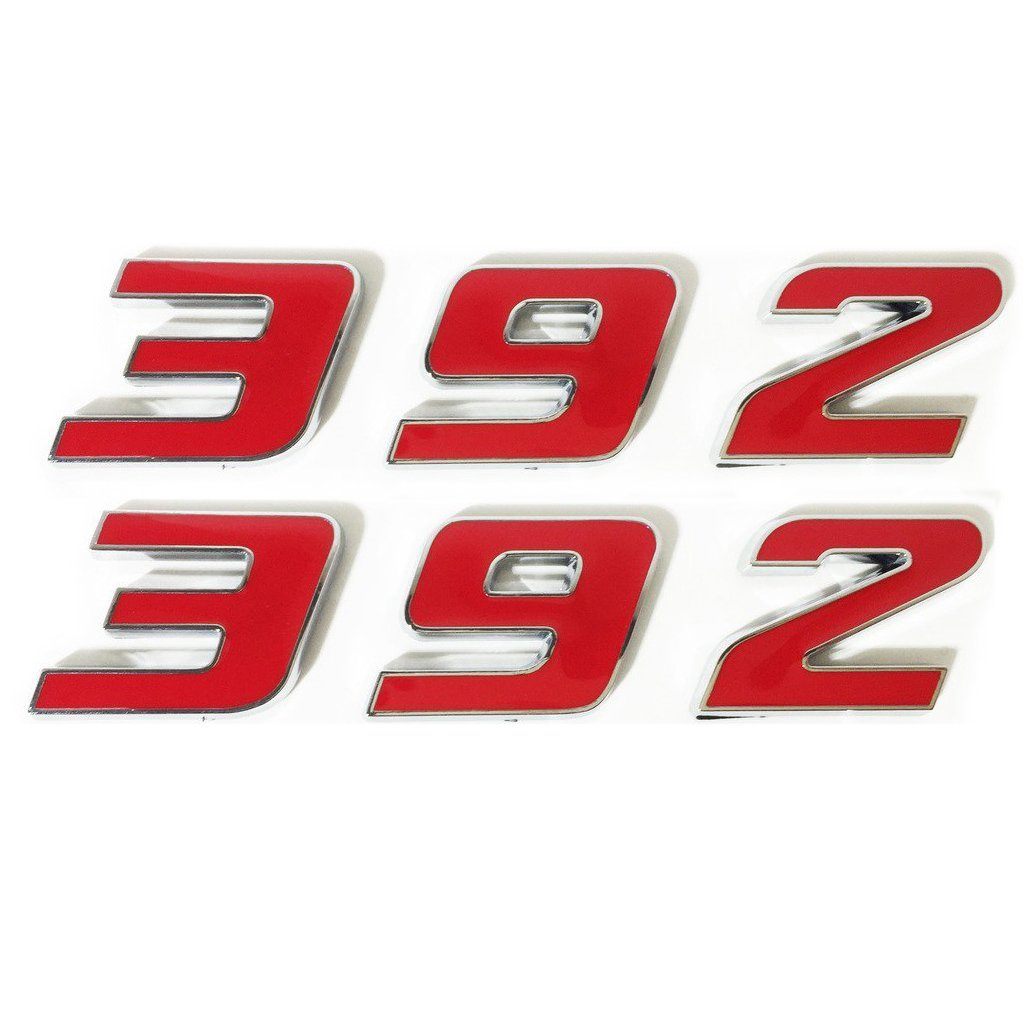 Yoaoo 2x OEM Red 392 Emblem Badge Alloy Decal 3d Logo for Dodge Hemi Challenger Chrysle 300c Red
