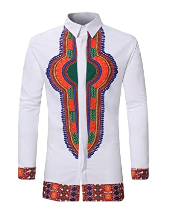 Herren Beiläufig Afrikanisch Stil Tribal Hemd Gedruckt Lange Ärmel Dashiki  T-Shirt  Amazon.de  Bekleidung aff5de5559
