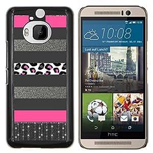 BearCase / Cubierta de protección Caso duro de la contraportada de Shell Plástico /// HTC One M9+ M9 Plus /// Plata Patrón Líneas rosadas
