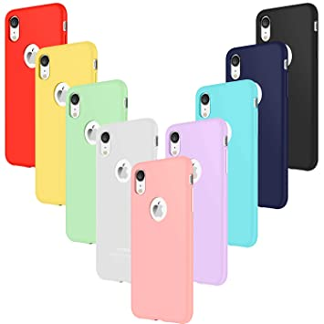 Leathlux 9X Funda iPhone XR Silicona Carcasa Ultra Fina TPU Gel Protector Flexible Cover Funda para iPhone XR - Rosa, Verde, Púrpura, Azul Cielo, ...