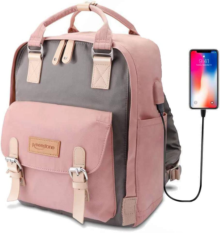 Keenstone Rucksack Satchel Backpack for Women,Laptop Backpacks, Travel Computer Backpacks with USB Charging Port for Women, Water Resistant College School Bookbag Fits 14 Inch Laptop and Notebook