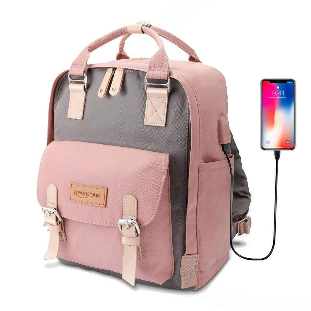 Pink Backpack for Women Cute School Bookbag with USB Charging Port 14 Inch Travel Laptop Backpack Waterproof College Book Bag