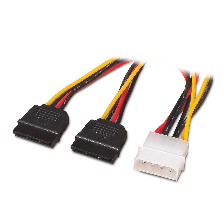 AISENS A131-0161/ /C/âble dalimentation SATA connecteur Molex 4/Broches m/âle vers 2/connecteurs SATA Femelles, 20/cm /-/Noir