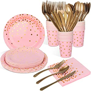 Pink and Gold Party Supplies Disposable Dinnerware Set - Pink Paper Plates Napkins Cups, Gold Plastic Forks Knives Spoons for Birthday Graduation Baby Shower Wedding Cocktail Party, Serve 25