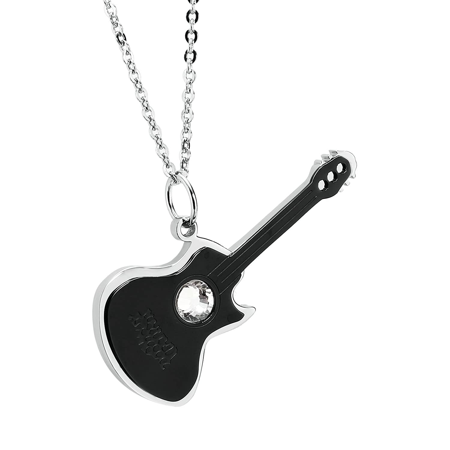 Adisaer His and Hers Stainless Steel Pendant Necklace Guitar Cubic Zirconia Pendant Size 2.7x4.8CM