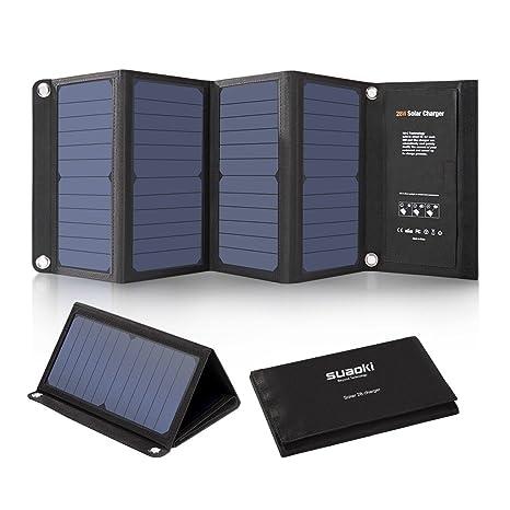 SUAOKI 28W Cargador Panel Solar Portátil Plegable con 3 Puertos de USB de QC 3.0 Carga Rápida, conversión de energía de hasta 23%, resistente al agua ...