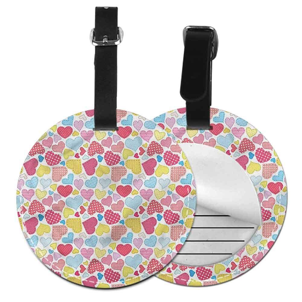Men Luggage Tag Hearts,Ornamentation Stripes Dots Round Luggage Tags