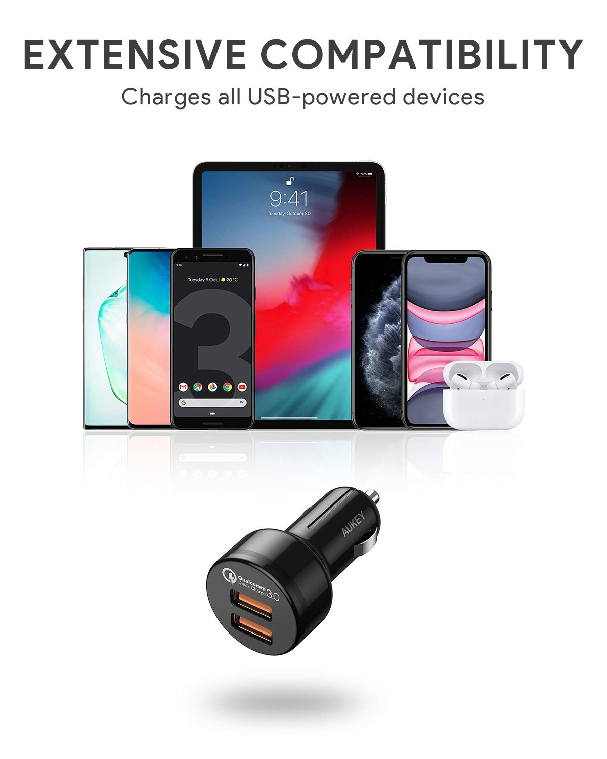 iPad AirPods Pro Samsung Note10+ // S10 and More Google Pixel 4 XL AUKEY 36W Dual Port Quick Charge 3.0 USB Cell Phone Car Adapter for iPhone 11 Pro Max Fast Car Charger