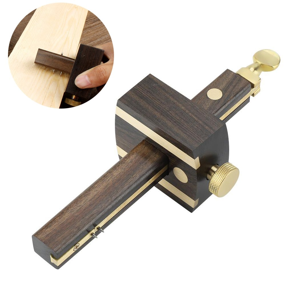 ZJchao Scriber Screw Cutting Gauge Mark, Black Wearproof Sandalwood Copper Rail Woodwork Carpenter Tool Approx8Inch/20cm