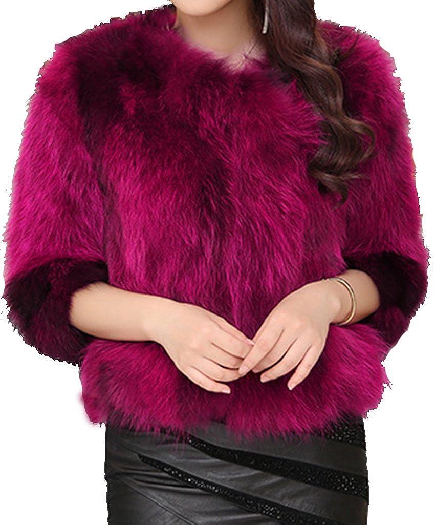 Helan Women's Short Real Raccoon Fur Coat