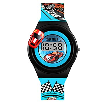 Gskj Reloj Infantil Moda Encantador Reloj Digital Modelo de Coche Giratorio Adecuado para niña niño,