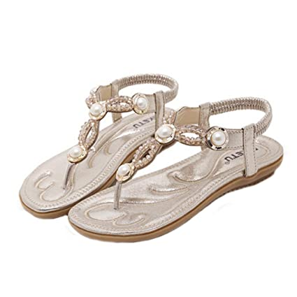 Amazon.com  Hemlock Women Size 4.5-10 Flat Sandals Bohemia Pearl Sandal  Shoes (US 8.5 2a263c94b513
