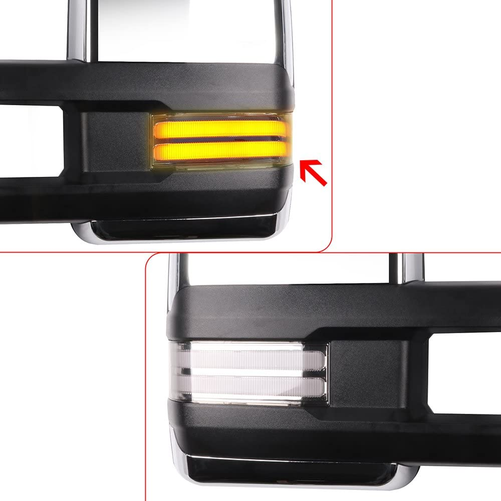 ROADFAR Towing Mirrors Compatible with 2014-2018 Chevy GMC 1500 2015-2019 Chevy GMC 2500//3500 HD Power Adjusted Heated LED Turn Signal Running Back Up Light Chrome Housing