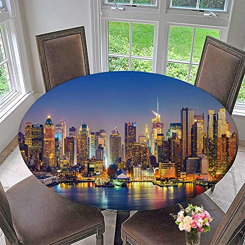 (PINAFORE HOME Elasticized Table Cover View on Manhattan at Night, New York, USA Machine Washable 31.5