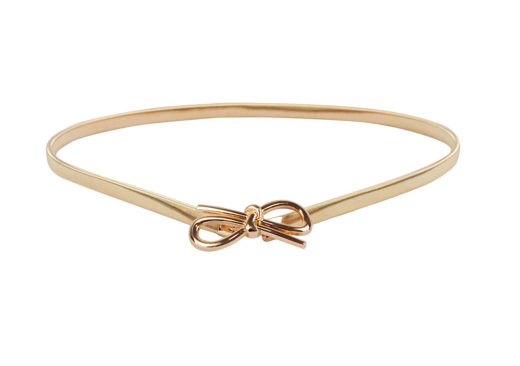E-Clover Cute Bowknot Metal Buckle Skinny Stretch Waist Belt For Dress (Style2)
