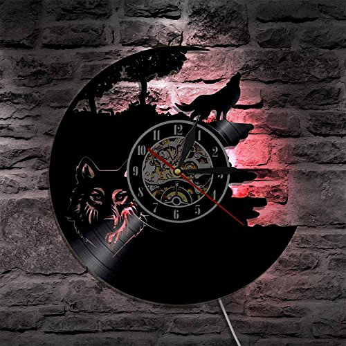 LED Wall Lights, Night Light, Wall Lamp, Wolf Vinyl Record Wall Lamp Creative Classic Home Decor Musical Handmade CD Led Time Clock With Color Changing Led Light