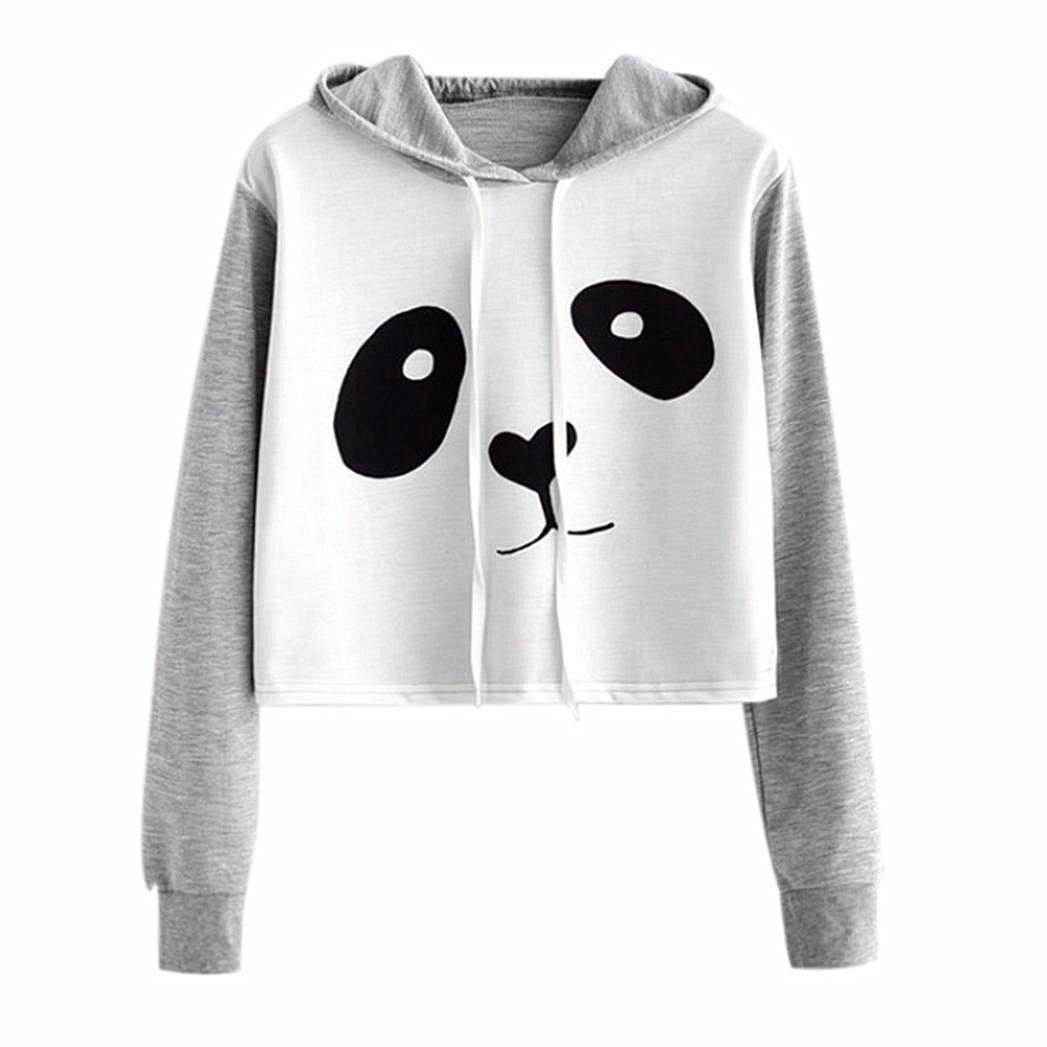 Kword Felpe Donna, Camicia Donna Autunno Inverno Maglietta Manica Lunga Panda Felpa Camicetta Donna Cartoon Felpa Elegante Camicetta con Cappuccio Pullover per La Ragazza