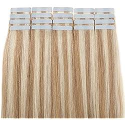 """Tape In Virgin Human Hair Extensions 100% Remy Human Hair 20 pieces x 4 cm wide Human Hair 20""""-50g (#18/613 Ash Blonde/Bleach Blonde)"""