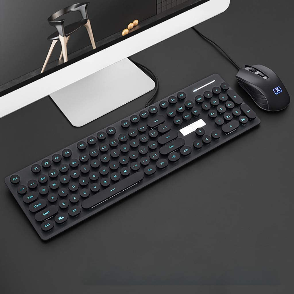 Feliader New N518 Punk Robot Wired Keyboard and Mouse Set Round Key Cap USB Wired Ergonomic Wrist Rest Keyboard Gaming Mouse for Office Work PC Gamer - Black Keyboard Mouse Set