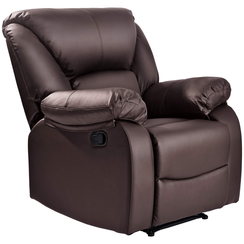 Wondrous Recliner Armchair Leather Padded Ergonomic Comfort Manual Reclining Chair Brown Alphanode Cool Chair Designs And Ideas Alphanodeonline