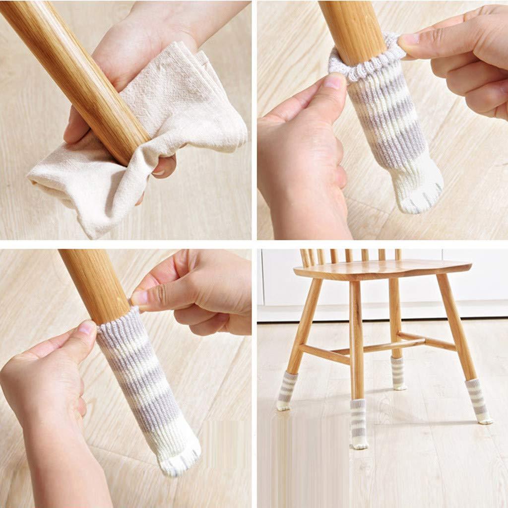 Pulison Chair Legs Table Foot Covers Elastic Floor Protectors Non Slip Chair Leg Feet Socks Covers Furniture Caps Set
