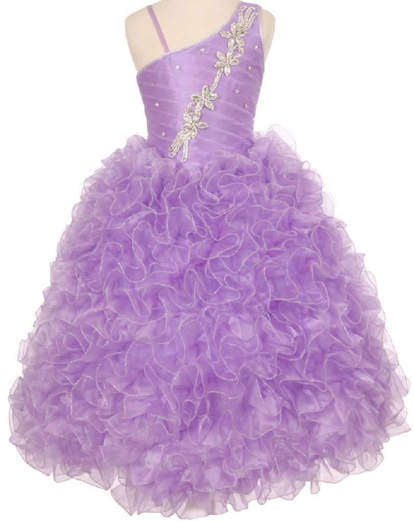 Little Girls One Shoulder Strap Pageant Gown Flowers Girls Dresses Lilac 6